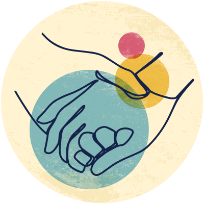 Illustration of a hand holding another hand