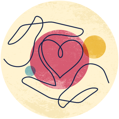 Illustration of two hand encircling a heart