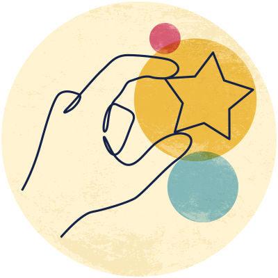 Illustration of a hand holding a star