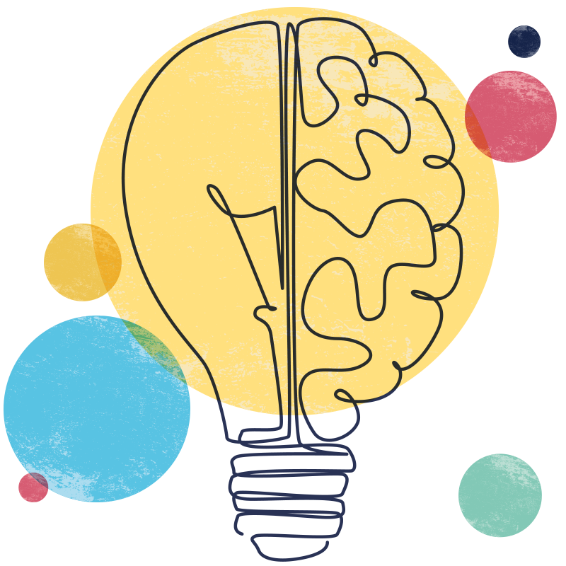 Illustration of a lightbulb with one half drawn to look like a human brain