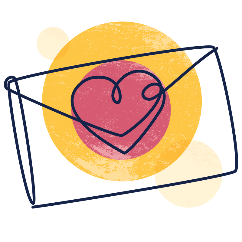 Illustration of an envelope sealed with a heart